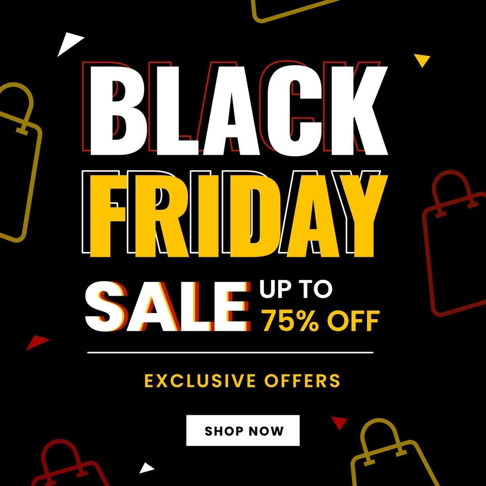 Black friday shopping sale with bag icons vector