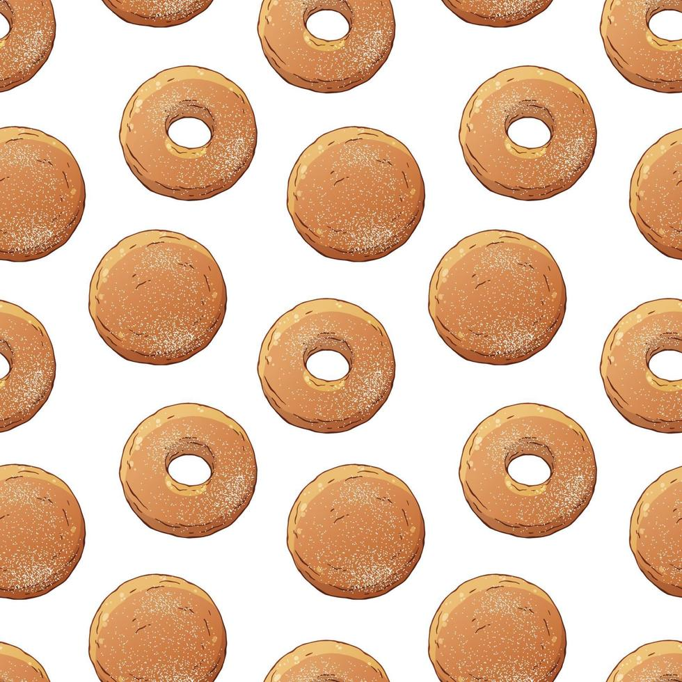 Pattern of donuts decorated with powdered sugar vector