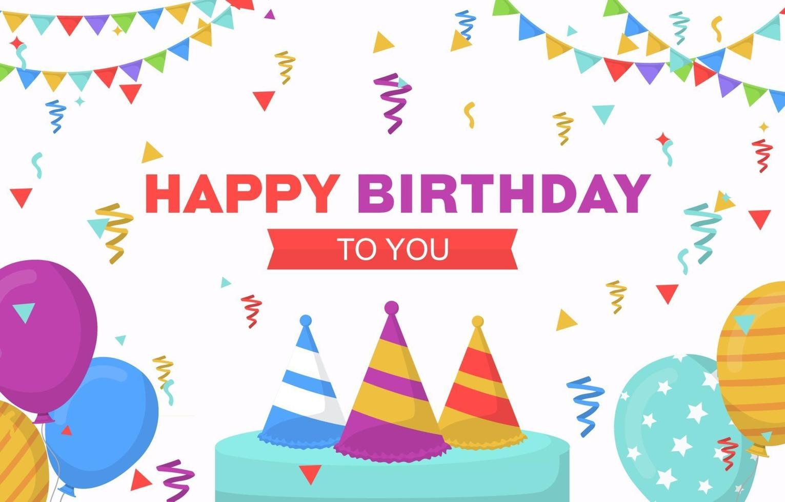 Happy Birthday Card with Party Balloons and Confetti vector