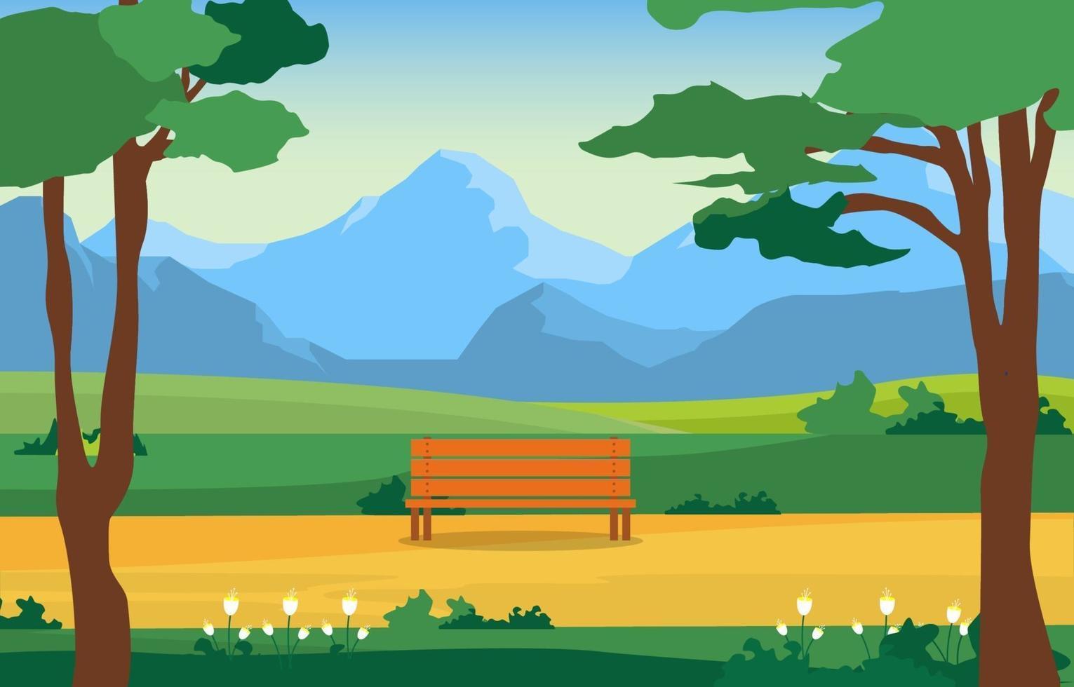 parque de verano con campo y montañas e ilustración de banco vector