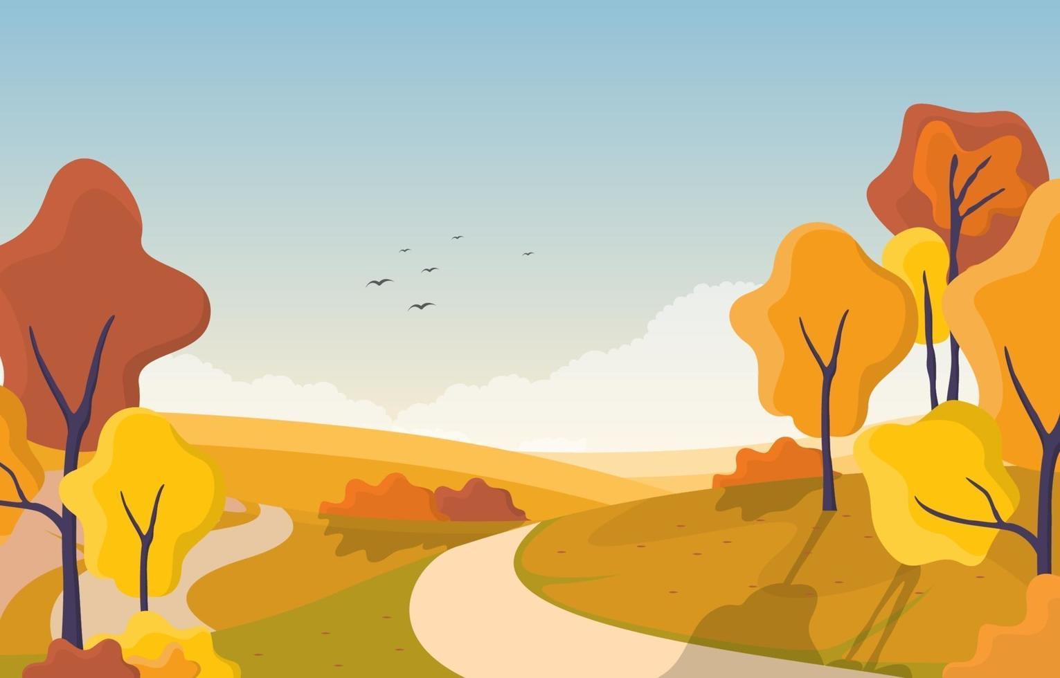 escena del parque de otoño con árboles y camino vector