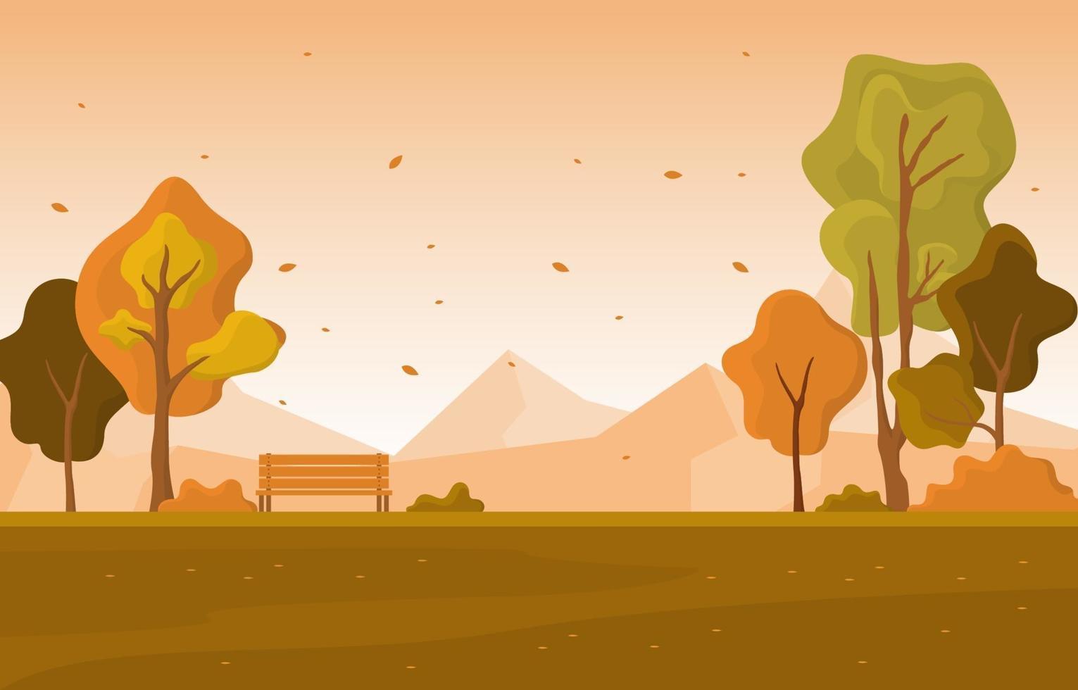 escena del parque de otoño con árboles y montañas vector