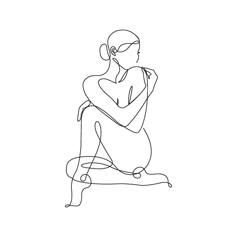 Abstract Woman Line art vector template