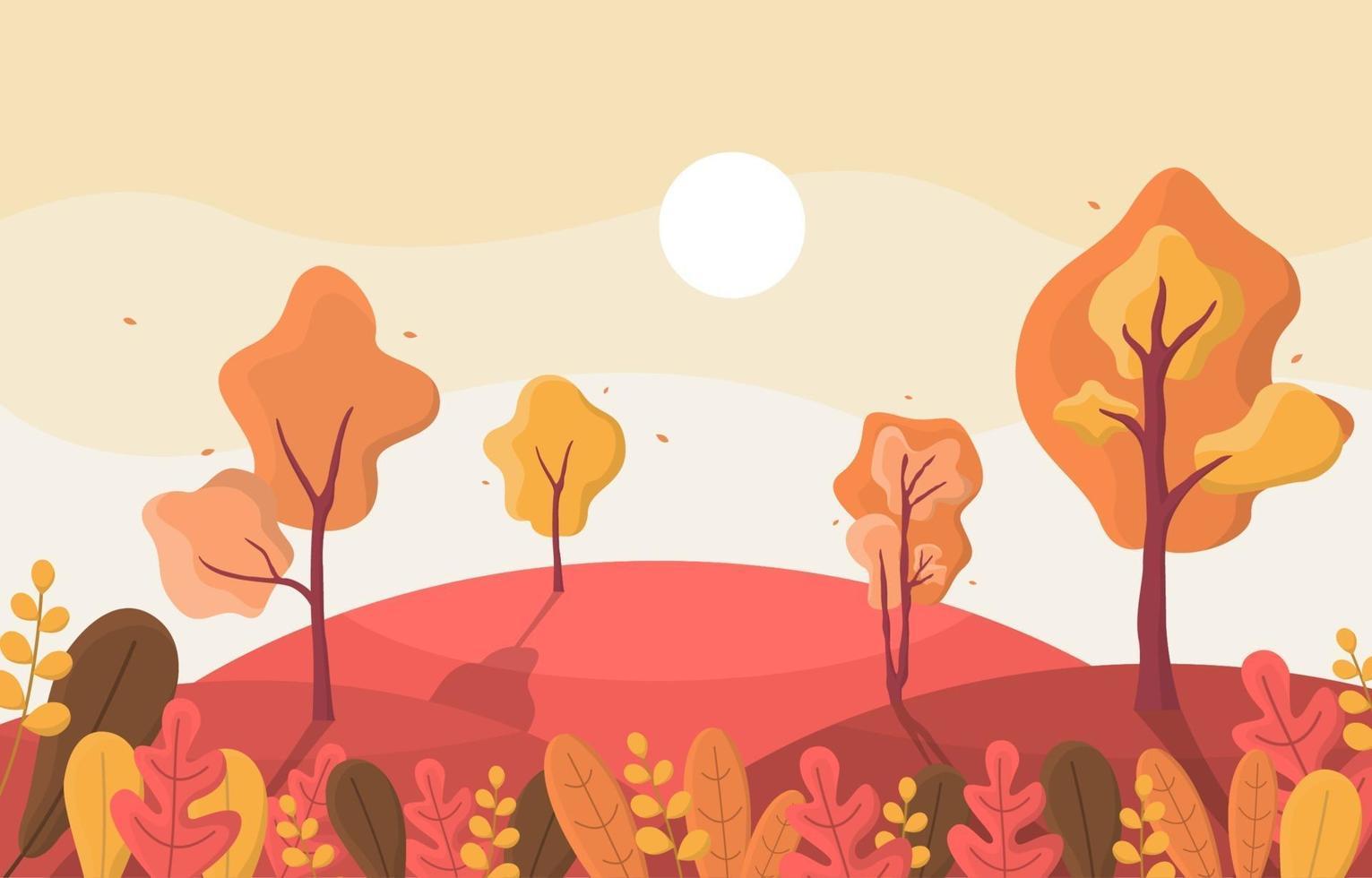 escena de otoño con colinas, árboles y hojas vector