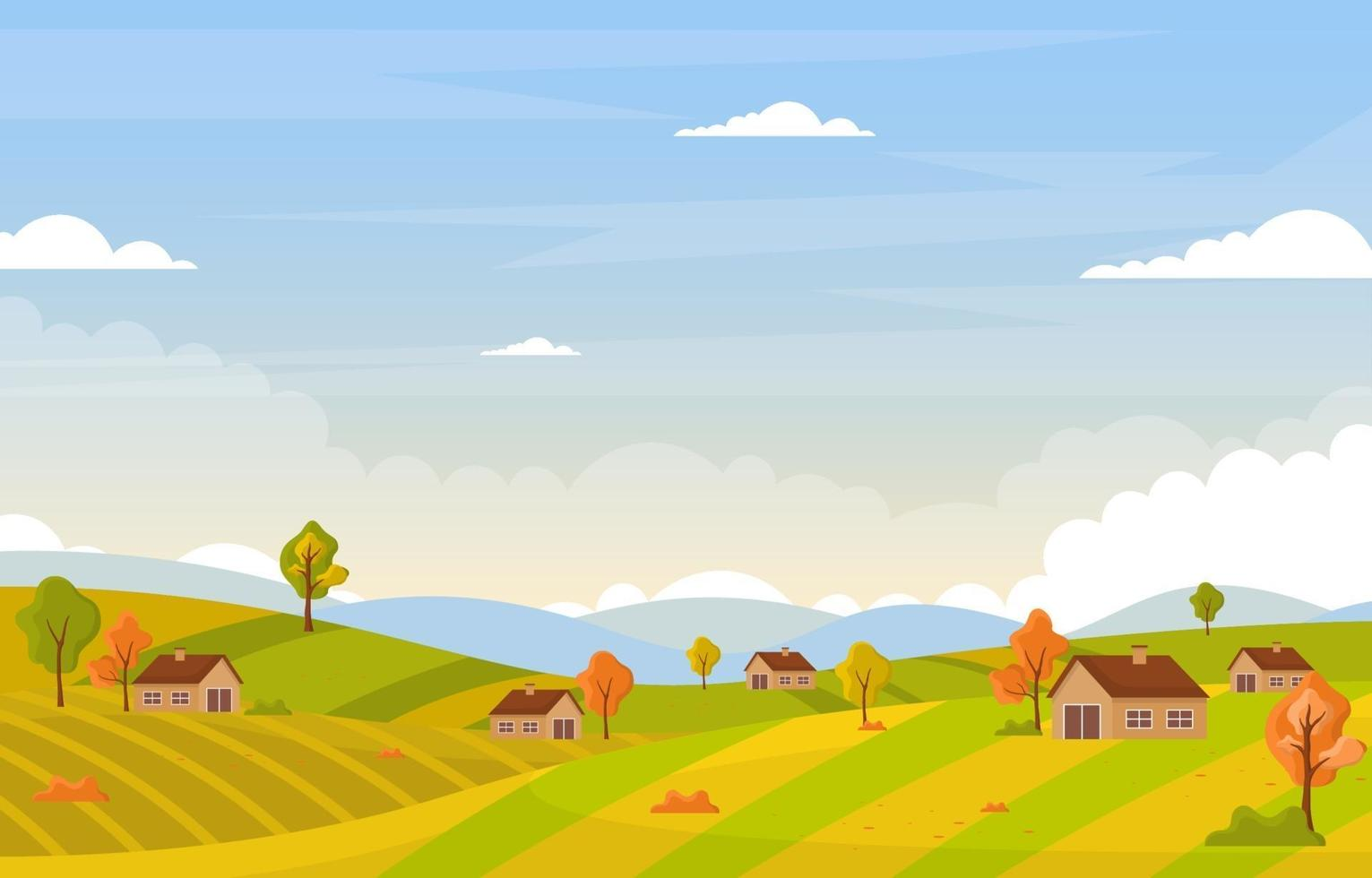 escena de otoño con colinas, árboles y casas. vector