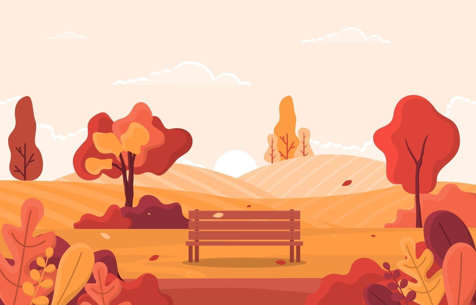 escena de otoño con colinas, árboles y banco vector
