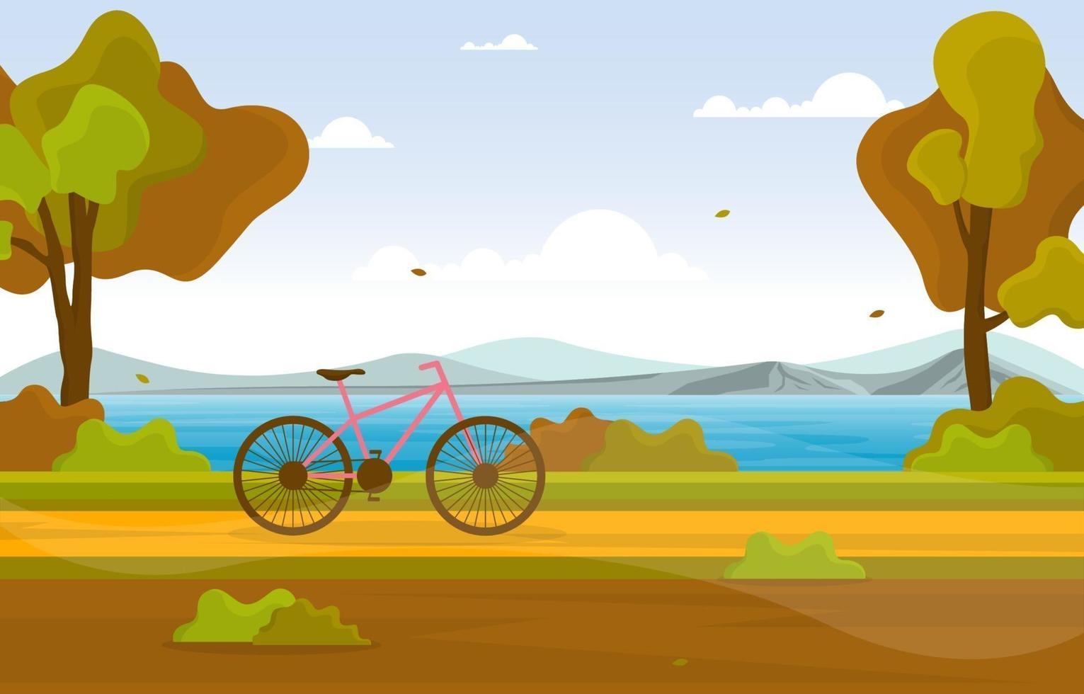 escena de otoño con lago, árboles y bicicleta. vector