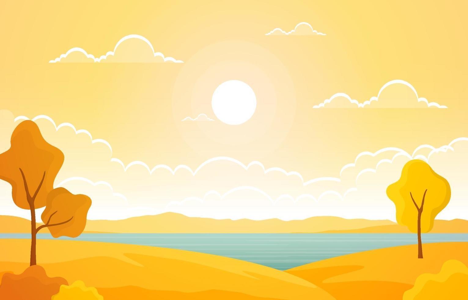 escena de otoño con lago, árboles y sol. vector