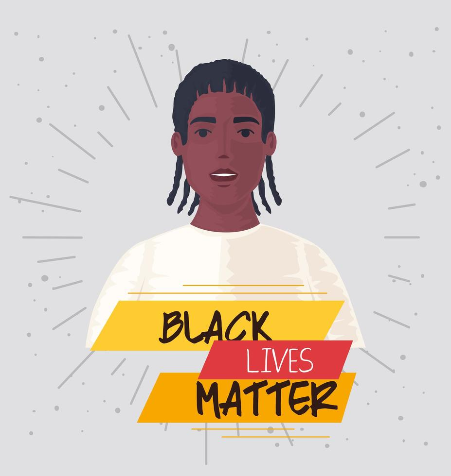 black lives matter banner with men, stop racism concept vector