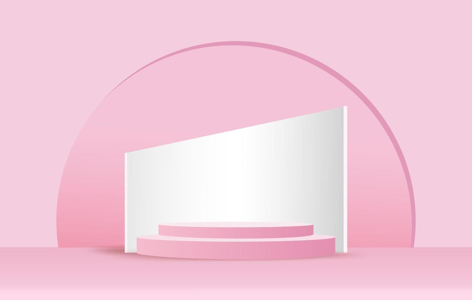 Abstract minimal scene on pastel background with cylinder podium and circle light. Stage mockup showcase for product, banner, sale, presentation, cosmetic and discount. 3d vector illustration