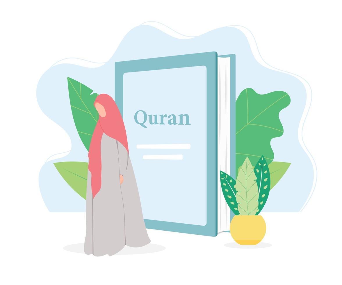 ilustración de diseño plano islámico de mujer musulmana vector