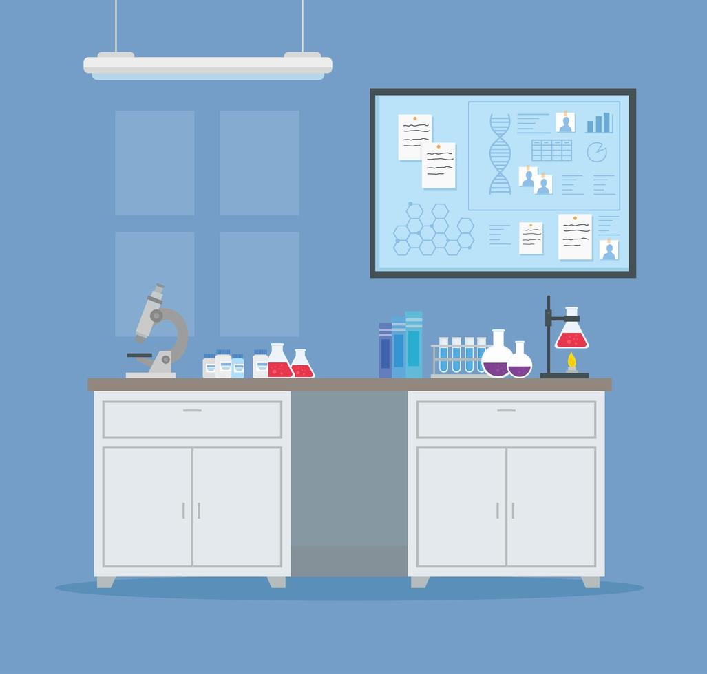 medical vaccine research with laboratory background vector