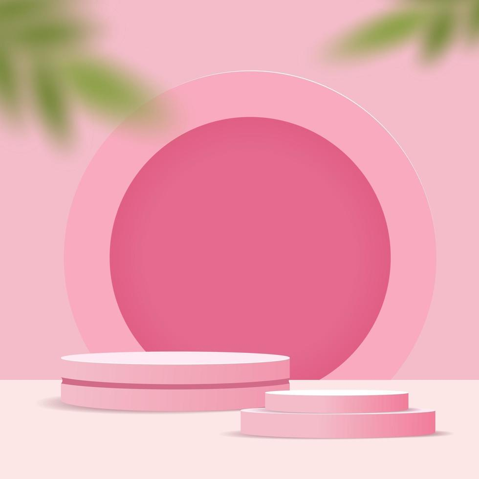 Abstract minimal scene on pastel background with cylinder podium and leaves. Stage mockup showcase for product, banner, sale, presentation, cosmetic and discount. 3d vector illustration