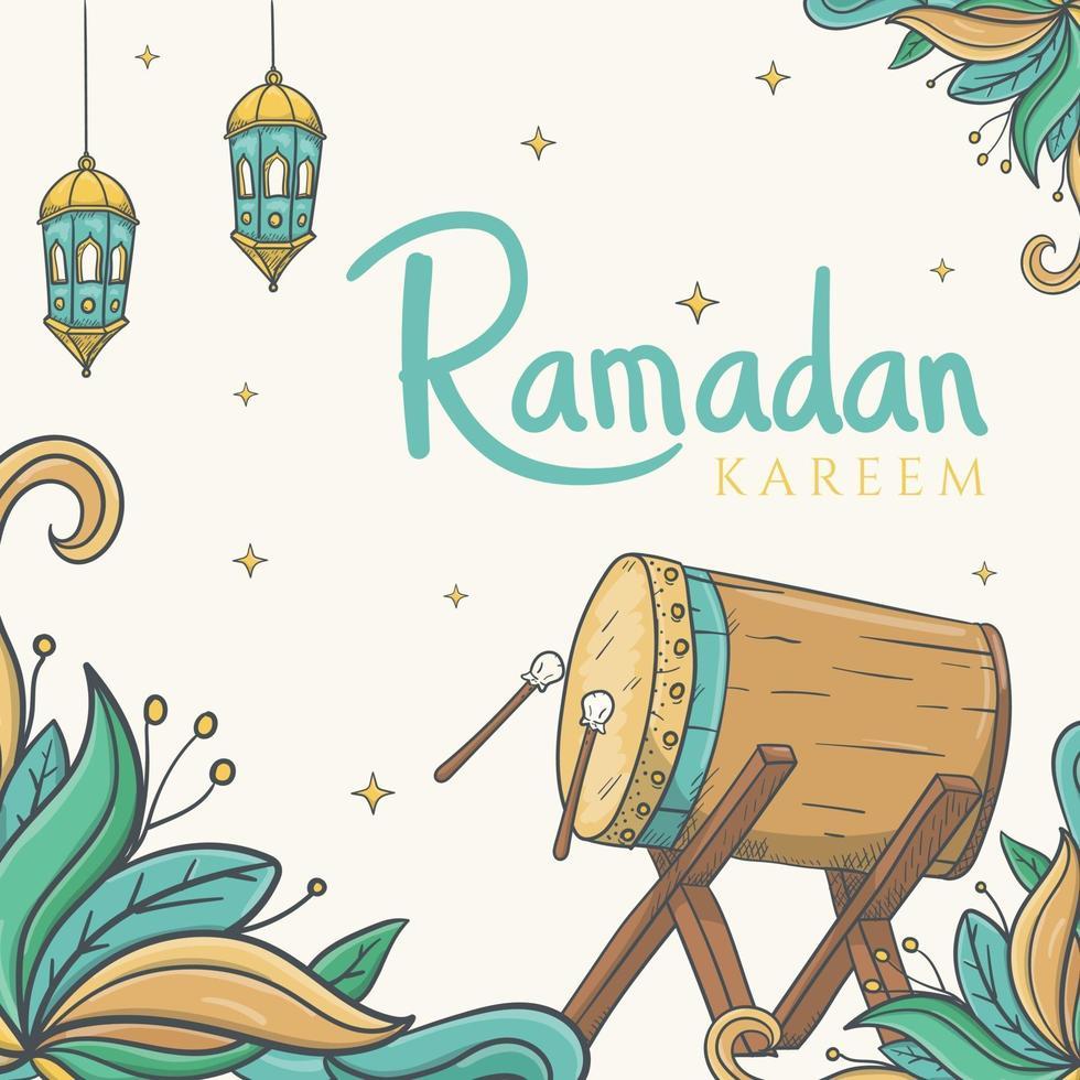Tarjeta de felicitación de Ramadán Kareem con dibujado a mano de adornos de Ramadán islámico vector