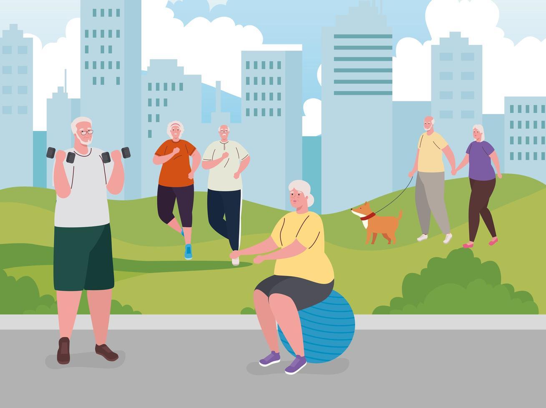 personas mayores haciendo actividades al aire libre. vector