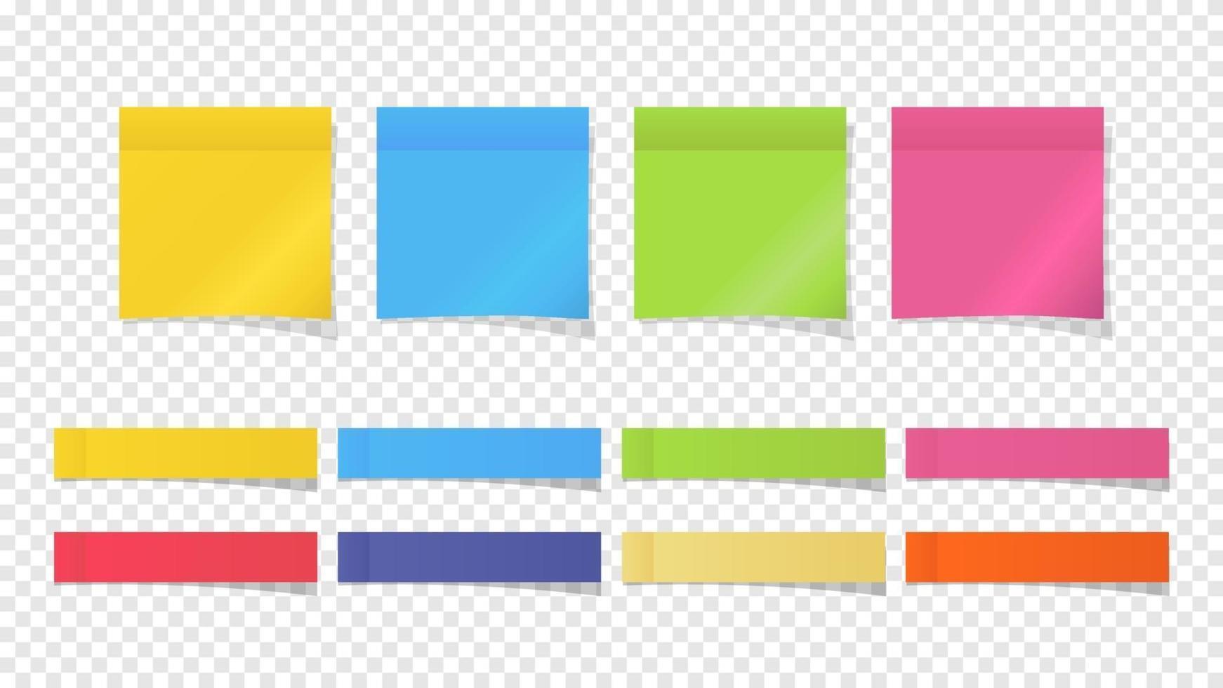 Ilustración de notas adhesivas, notas de papel de diferentes colores. vector