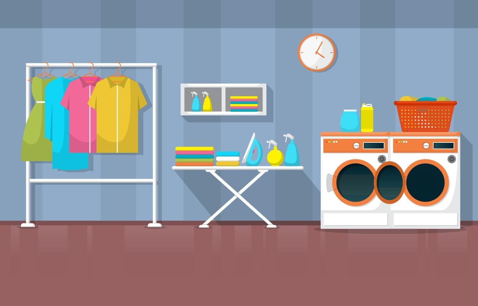 Laundromat with Washing Machines and Racks vector