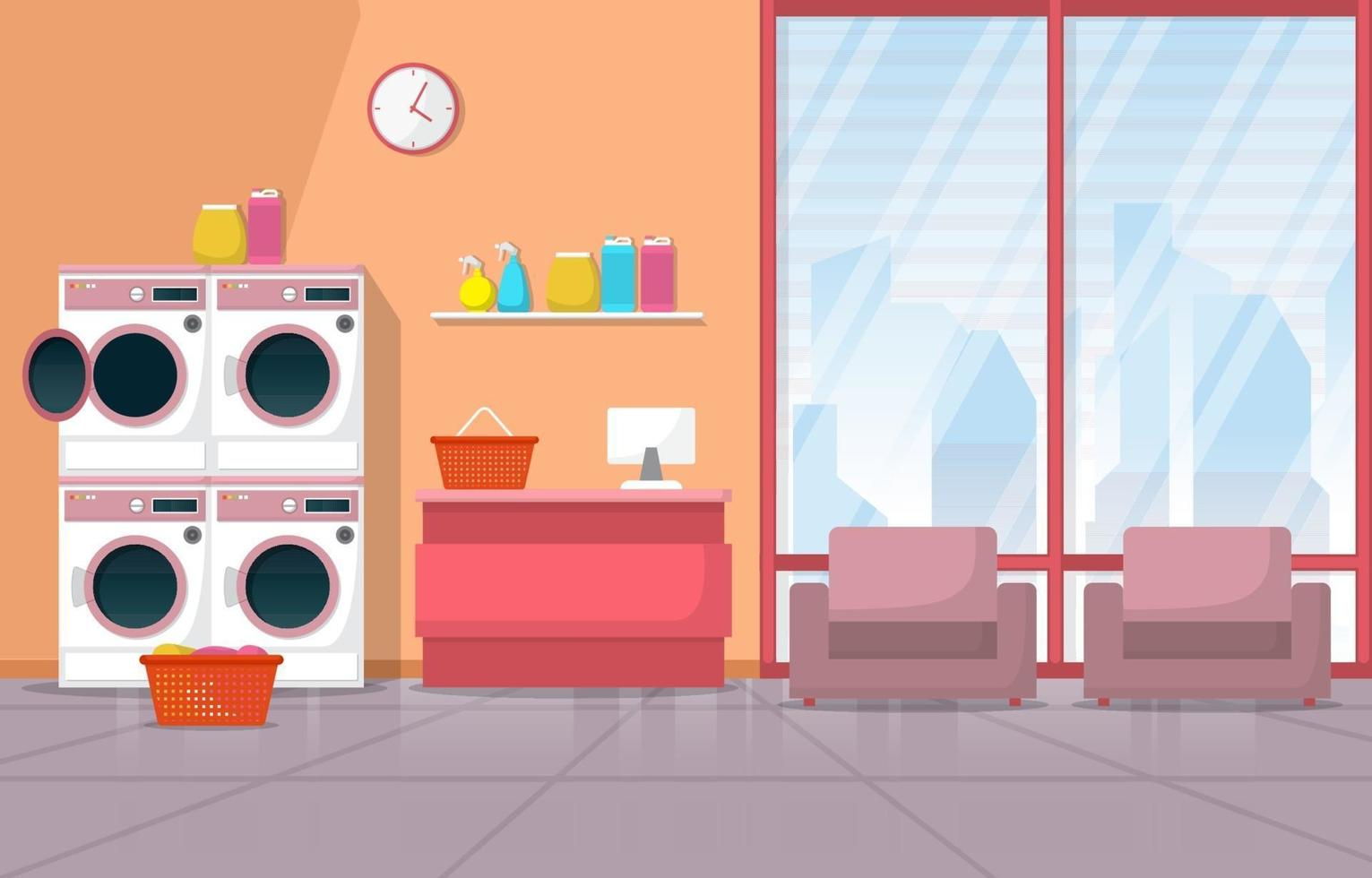 Laundromat with Washing Machines and Chairs vector