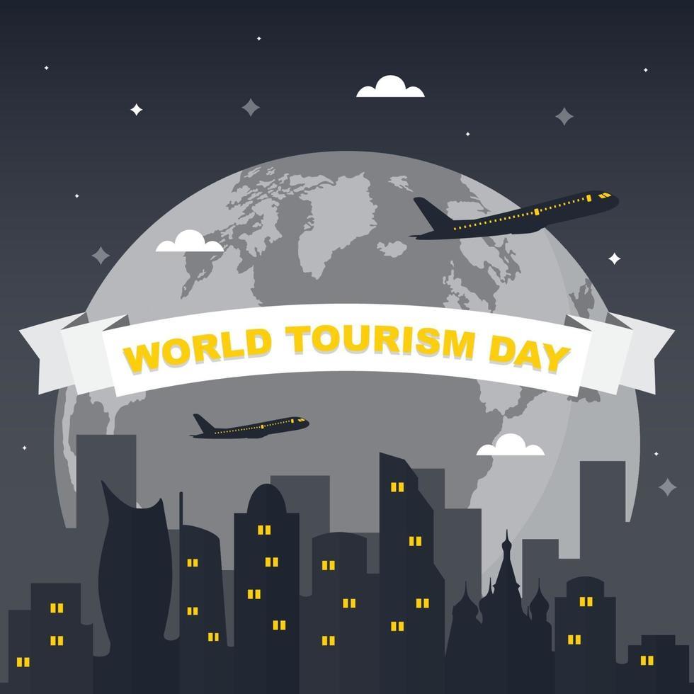 Moscú Rusia horizonte en el mundo, día mundial del turismo vector