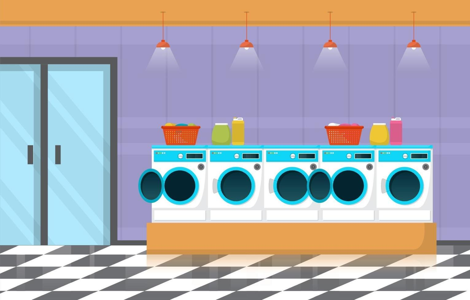 Laundromat with Washing Machines and Baskets vector