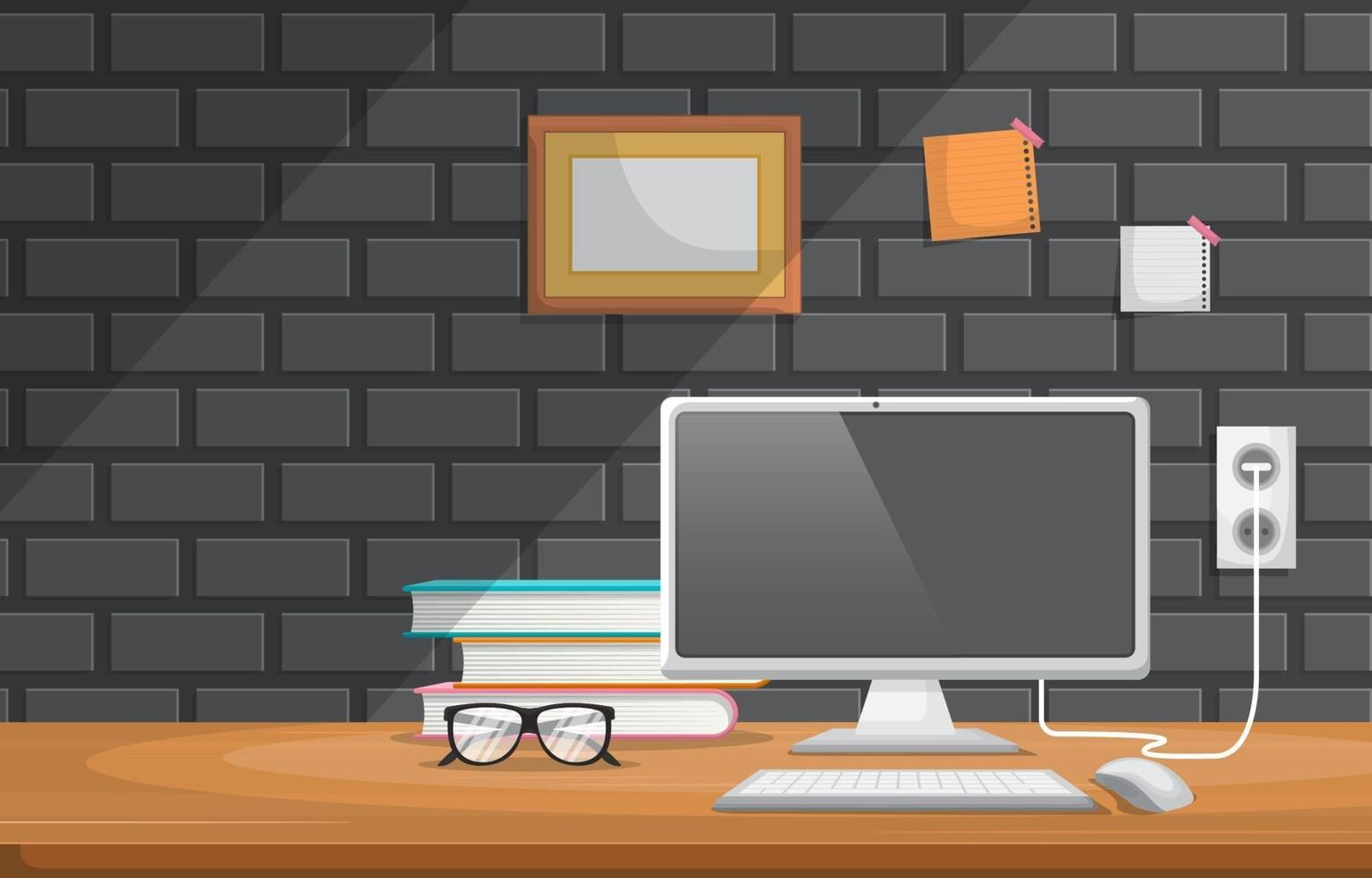 Computer and Eyeglasses on Office Table Illustration vector