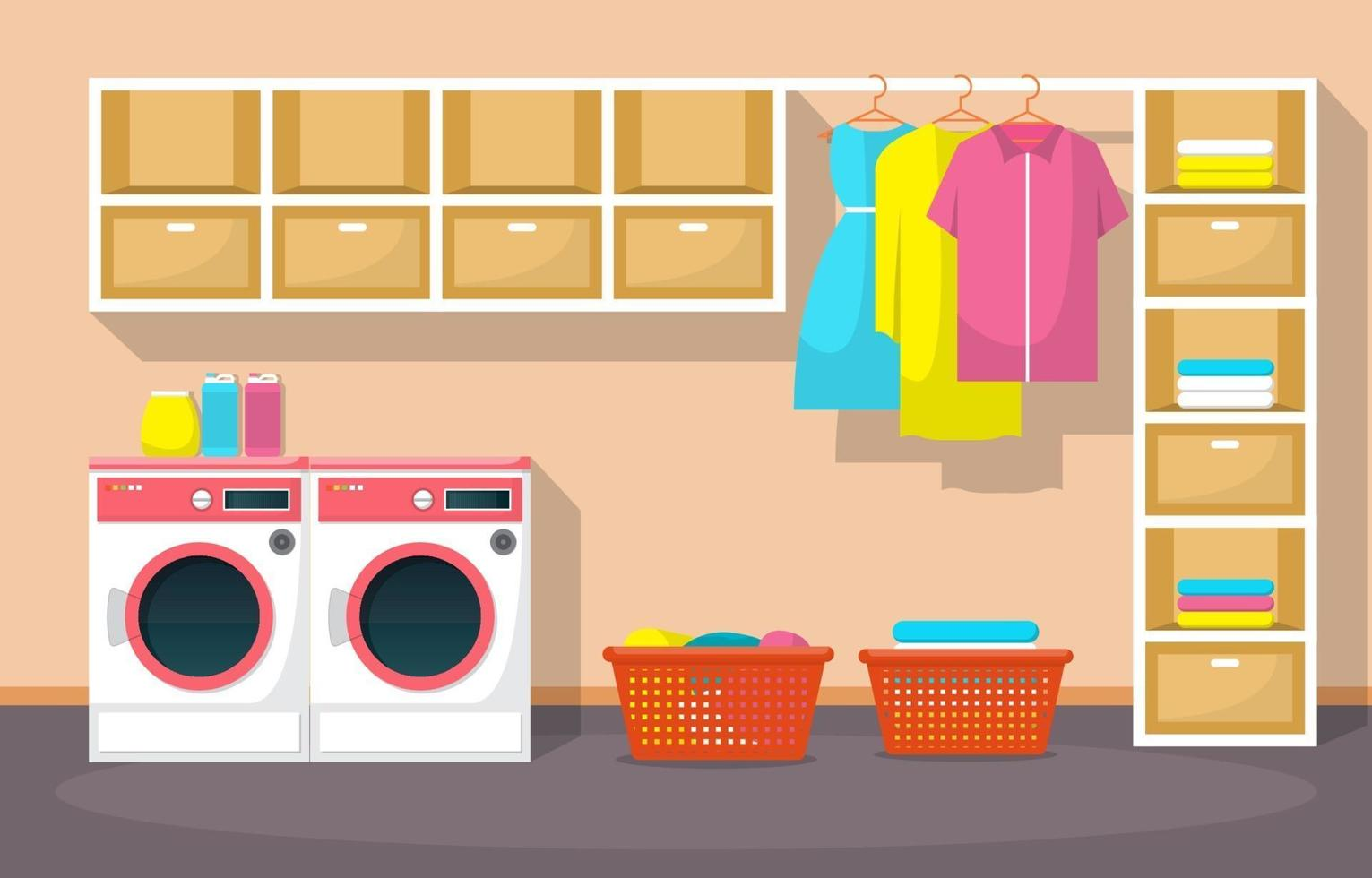 Laundromat with Washing Machines and Shelves vector