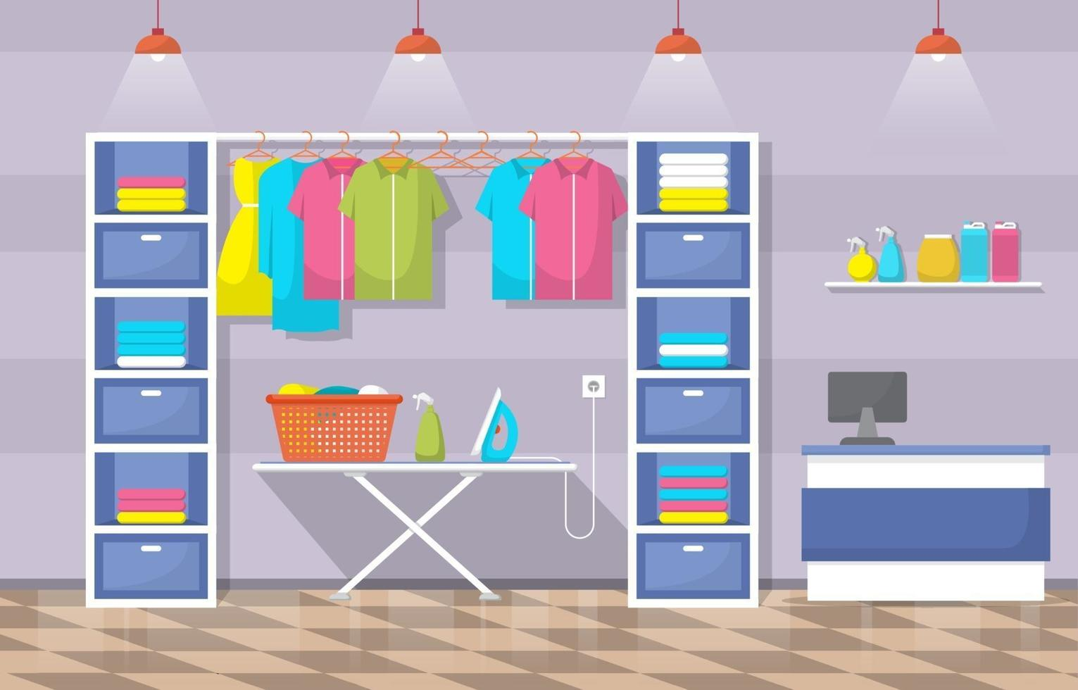 Laundromat with Clothing Rack and Ironing Board vector