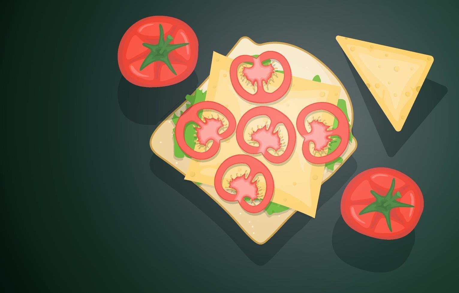sándwich abierto con queso y tomates vector