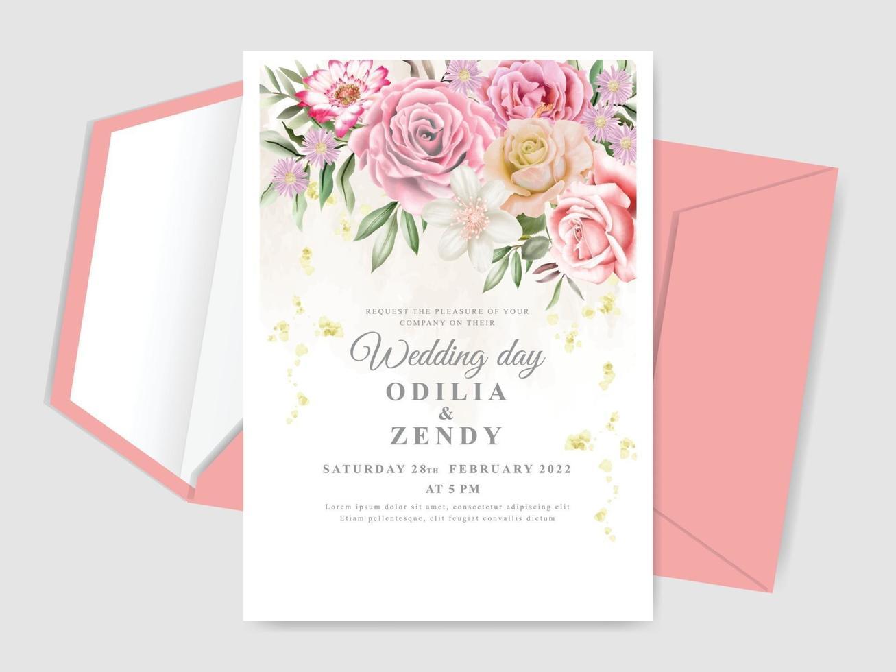 elegant floral hand drawn wedding invitation cards vector