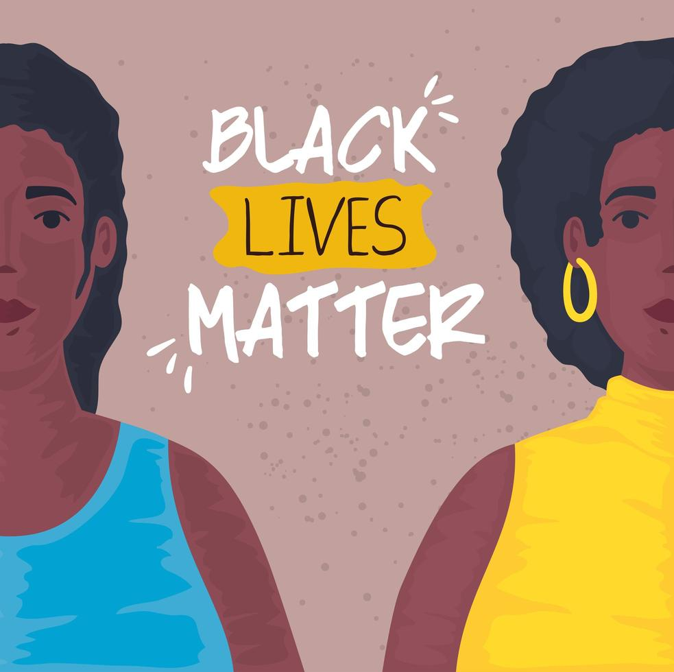 black lives matter banner with women, stop racism concept vector