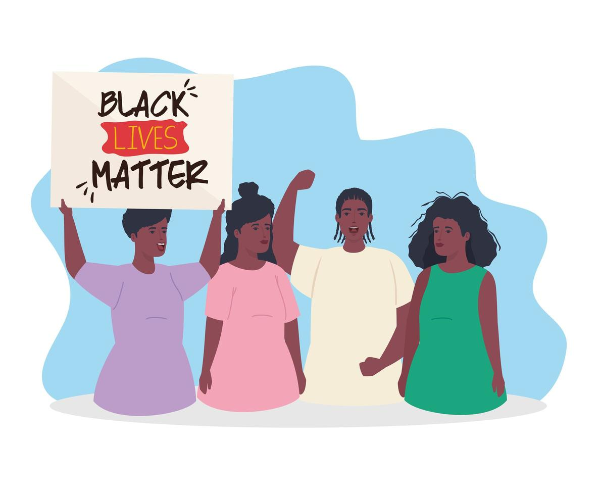 black lives matter banner with group of people, stop racism concept vector