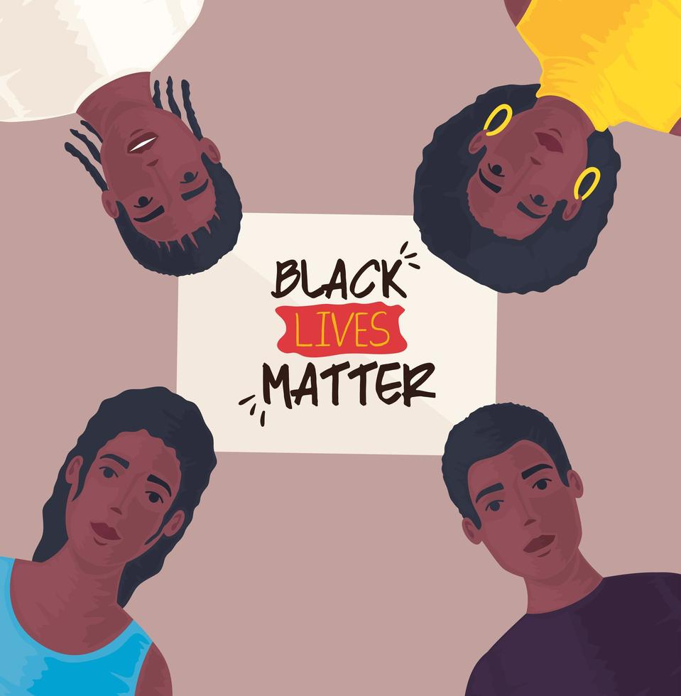 black lives matter banner with young people, stop racism concept vector