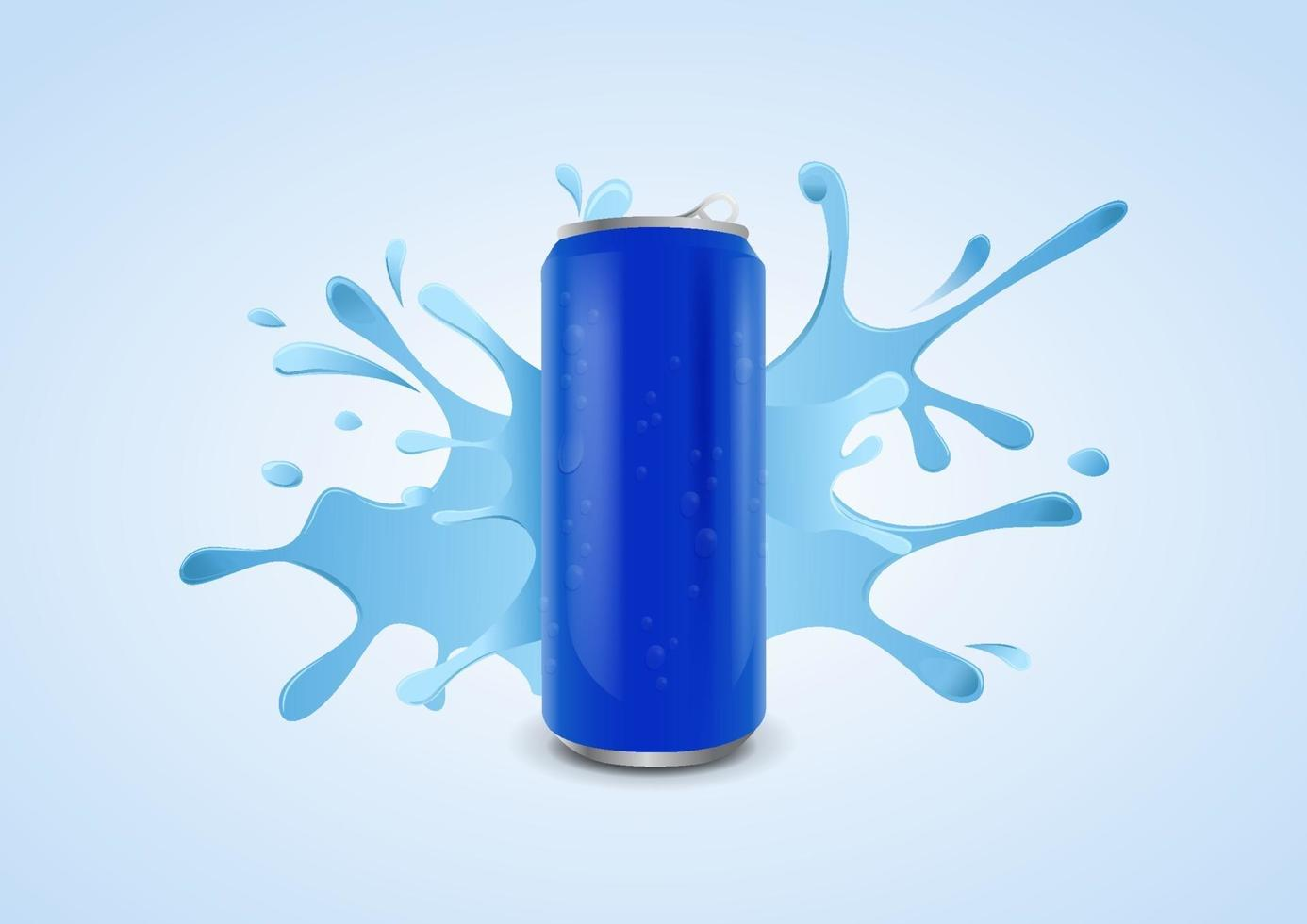 Blue ice cold soda can with water drops on splashing water background, vector illustration