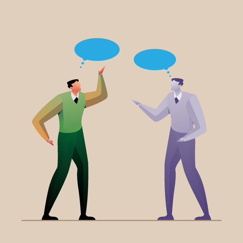 business concept leadership discussion flat illustration vector