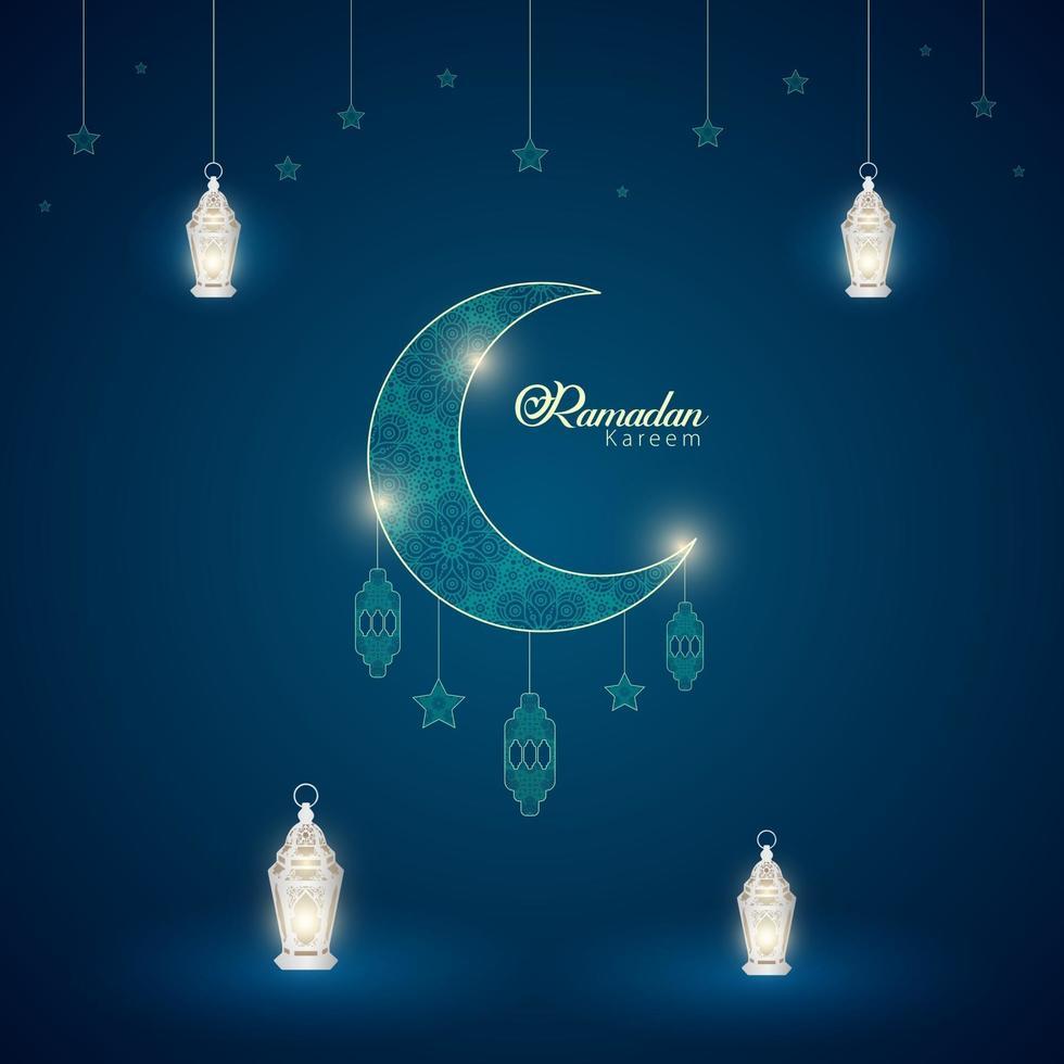 Ramadán kareem ornamento islámico luna estrellas linterna fondo diseño vector