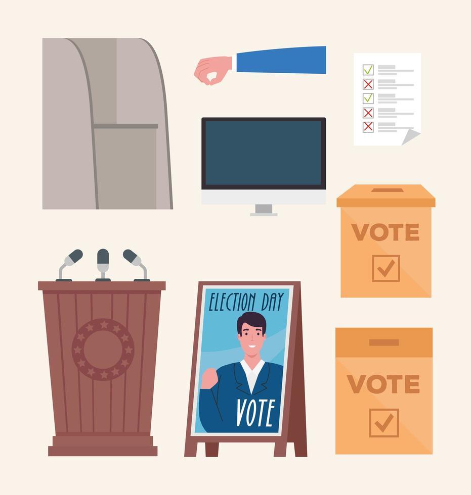 Election icon set vector design