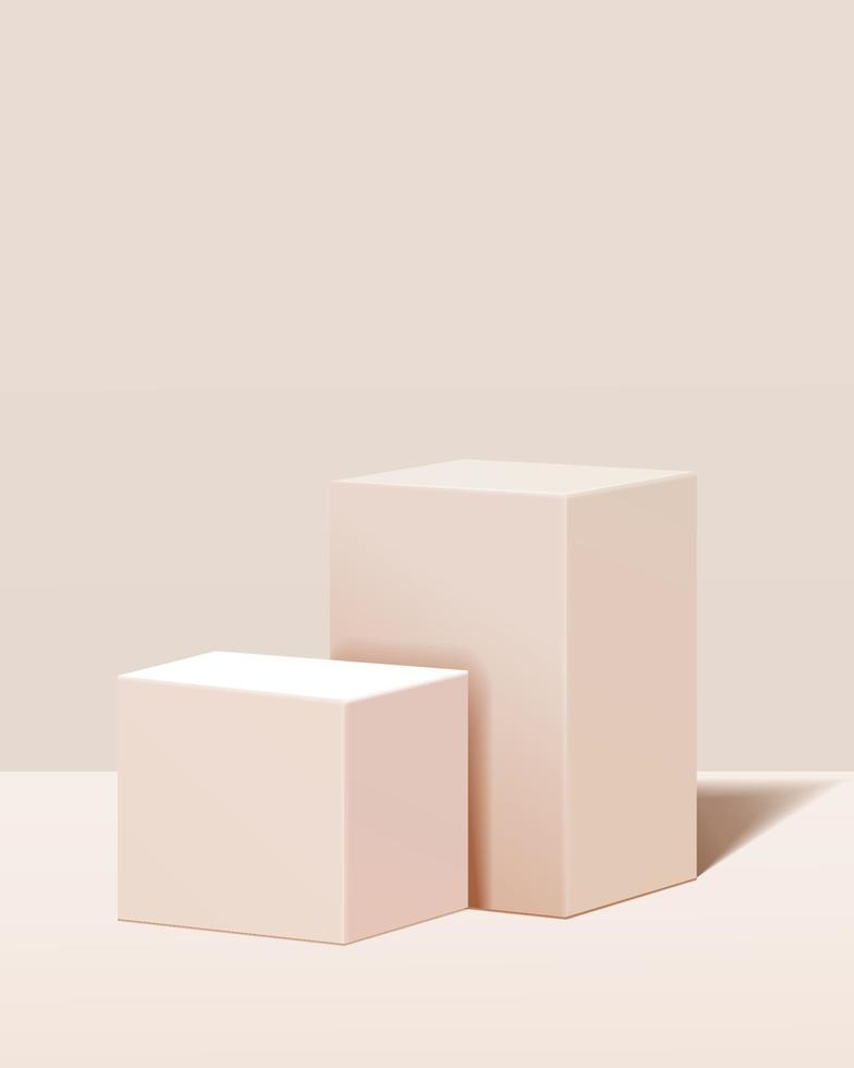 minimal scene with geometrical forms. box podiums in cream background. Scene to show cosmetic product, Showcase, shopfront, display case and stage. 3d vector illustration.
