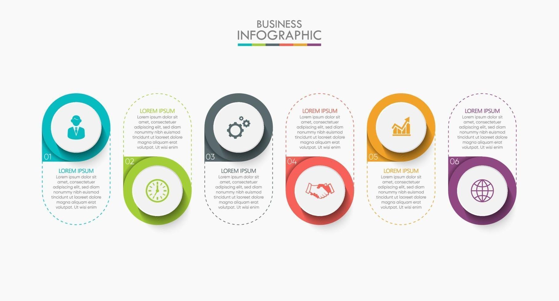 Plantilla de diseño de línea delgada infográfica con 6 opciones. vector