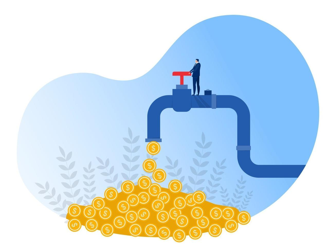 Businessman opens a tap from which  coins flow. Financial income, investment income. passive income concept. vector illustration