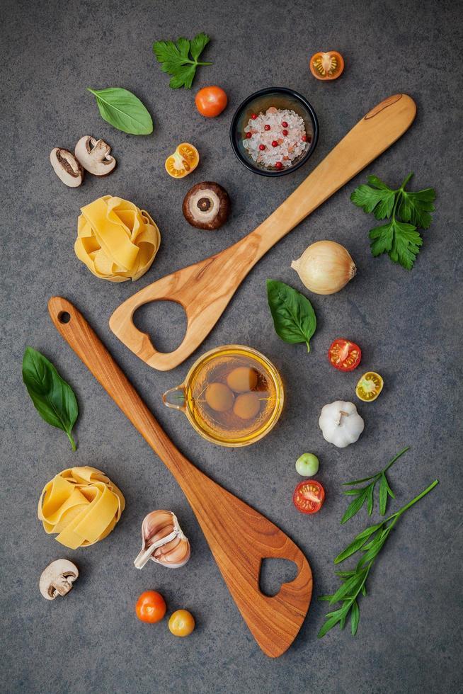Italian food on a dark gray background photo