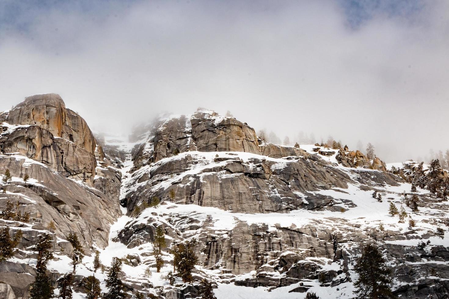 Snowy mountain range during winter photo