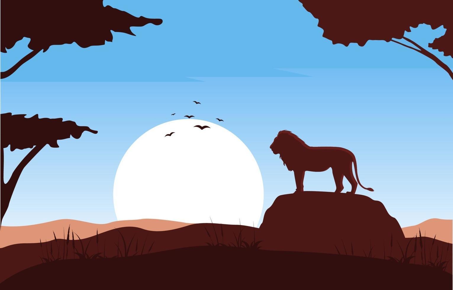 León sobre roca en la ilustración de paisaje de sabana africana vector