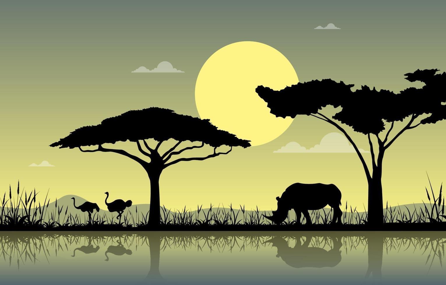 avestruces y rinocerontes en el oasis en la sabana africana paisaje ilustración vector