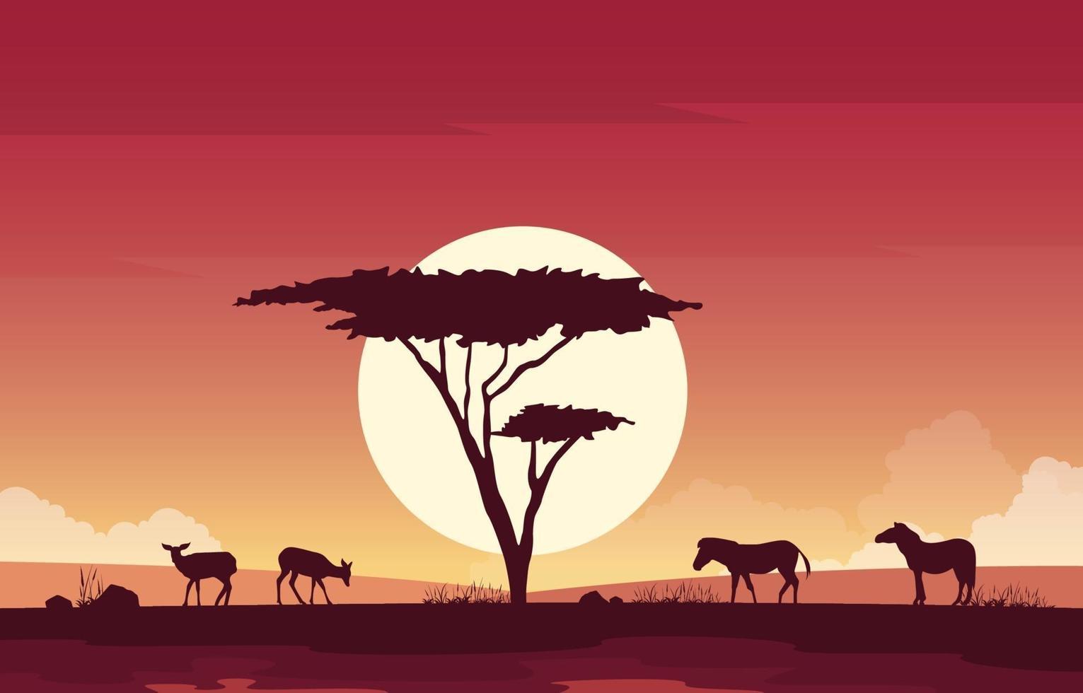 ciervos y cebras en la ilustración del paisaje de la sabana africana vector