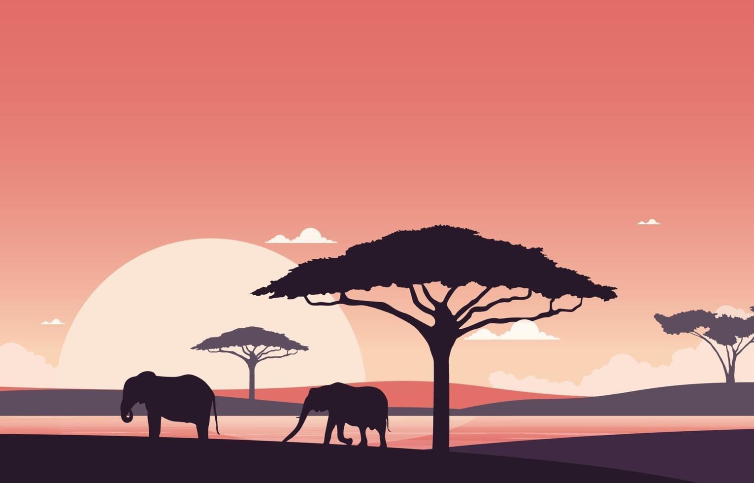 elefantes en el paisaje de la sabana africana durante la ilustración del atardecer vector
