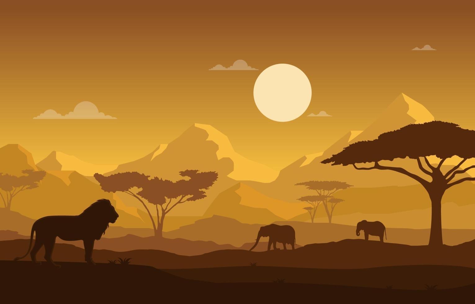 León y elefantes en la ilustración del paisaje de la sabana africana vector