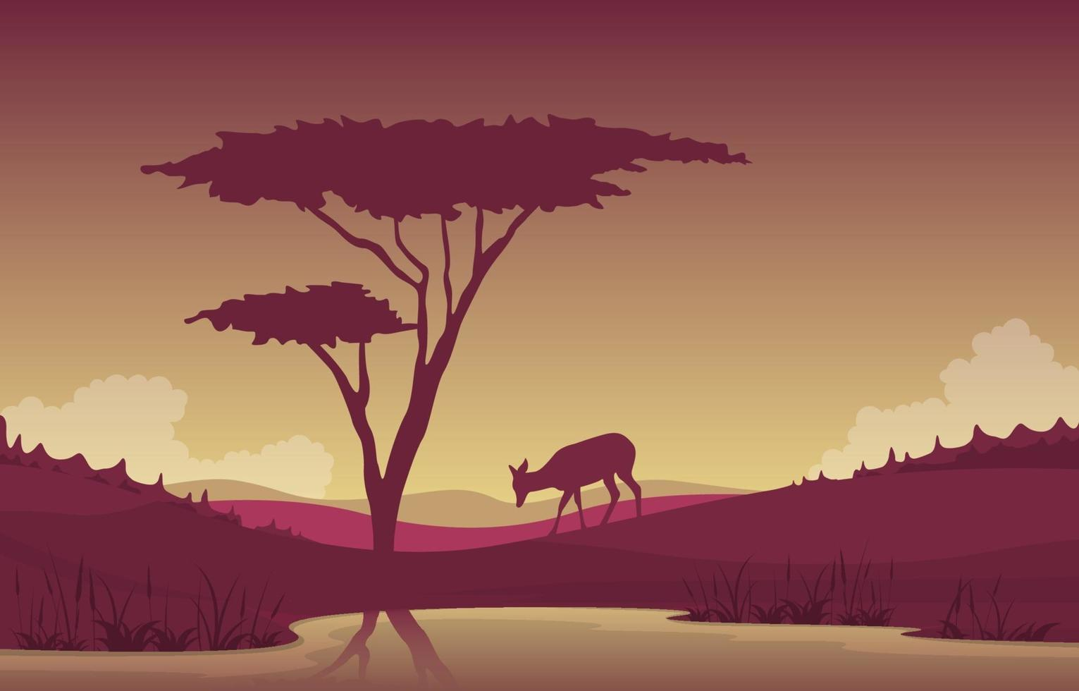 pequeño ciervo visitando oasis en la sabana africana paisaje ilustración vector