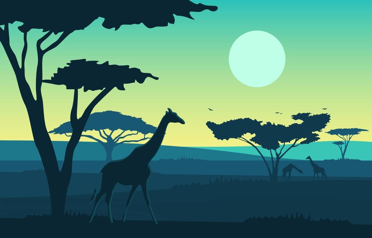 jirafas en la sabana africana paisaje ilustración vector