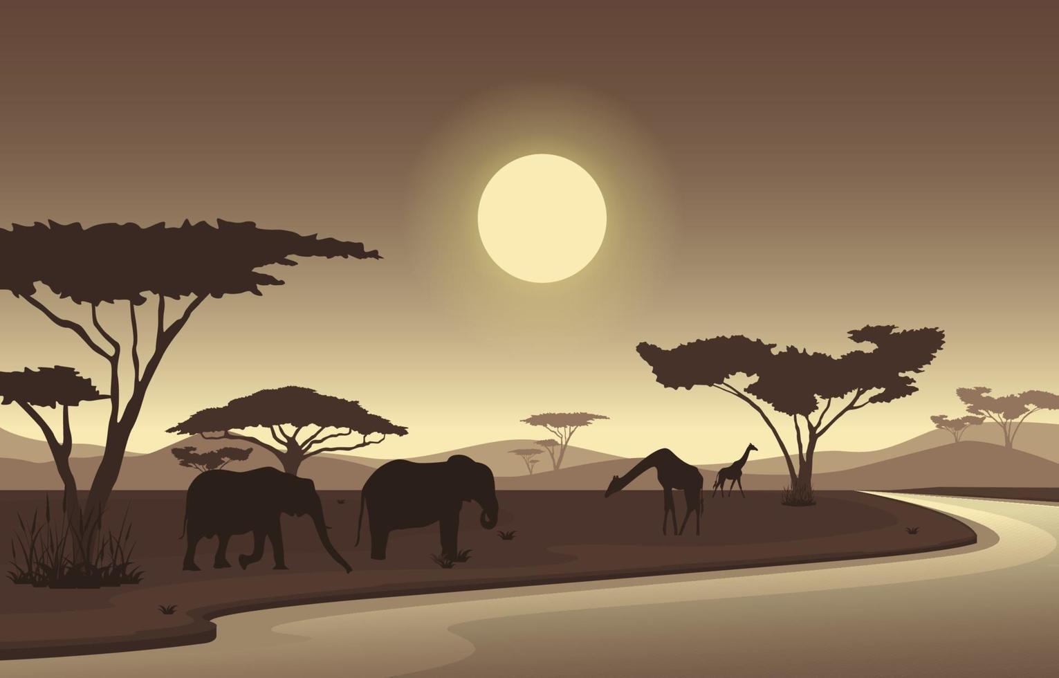 Elefantes y jirafas en el oasis en la ilustración del paisaje de la sabana africana vector