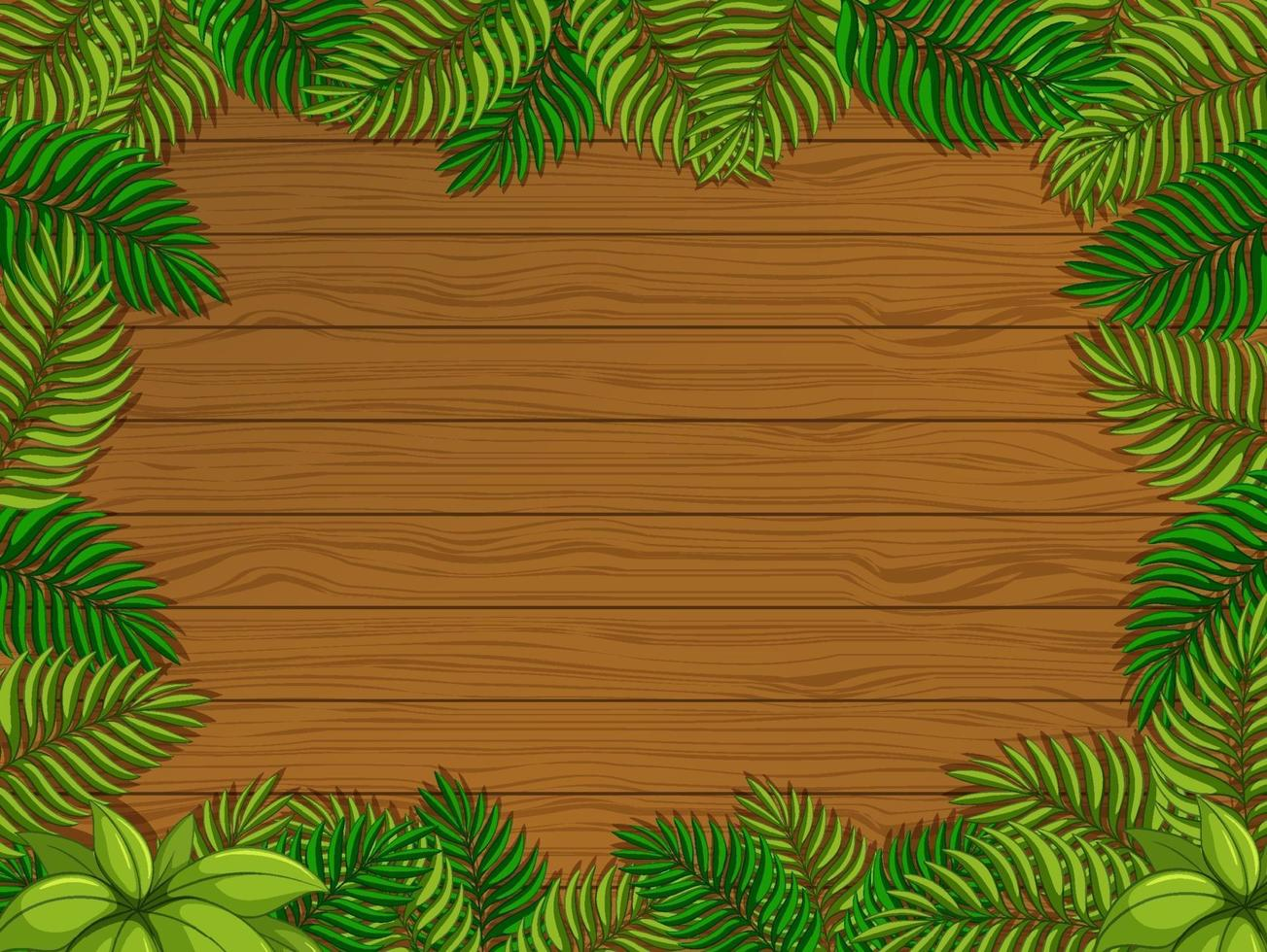 Empty wooden background with tropical leaves elements vector